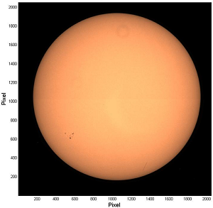 First image of the Sun taken by SODISM instrument on July 22, 2010 - Wavelenth 607 nm