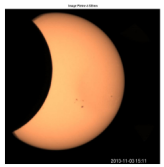 Observations of the solar eclipse realized at the wavelength of 535.7 nm